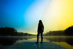 """Self Reflection"" (Melissa June Daniels) Tags: melissajdaniels melissajunedaniels melissajdanielsphotography thenymphandthebee mjdphoto selfportrait self selfie morning sunrise sunrises fog mist water reflection bluehour blue orange cool warm tree nature landscape"