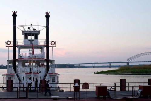 boat ship smokestack stack riverboat mississippi memphis tn tennessee bridge twilight dusk white
