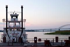 Riverboat (pburka) Tags: boat ship smokestack stack riverboat mississippi memphis tn tennessee bridge twilight dusk white