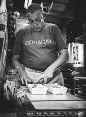 Hotdogs (Marsh.mis) Tags: blue streetphotography street singapore shop store man old chef cutting hotdogs hotdog food asia chinatown black blackandwhite bnw bw monochrome canon german cooking outdoor beautiful travel travelling