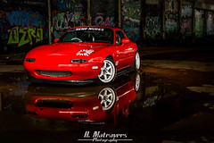 MX5 (Alex Matravers) Tags: mazda miata mx5 eunos jap car light painting night evening dark urba urban sony a7 birmingham digbeth red graffiti street art