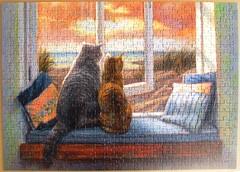 Window Buddies (Lucie Bilodeau) (Leonisha) Tags: puzzle jigsawpuzzle cat cats chat katzen fenster window
