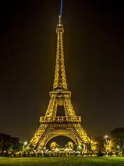 Evening at the Eiffel Tower.  Paris, France (LKungJr) Tags: france eiffeltower landscape paris night lights landmark