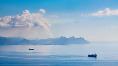 Baha de Cartagena (saparmo) Tags: mar azul nubes agua cartagena murcia castillitos escombreras humo barco