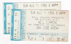 1996-08-11 Neil Diamond tix (mudsharkalex) Tags: california sanjose sanjoseca hppavilion hppavillion sapcenter sanjosearena neildiamond ticket tickets tix ticketstub ticketstubs