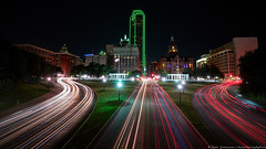 Dealey Plaza (Rajesh Jyothiswaran) Tags: cityscape colorful dallas dealey jfkassassination kennedy light longexposure night nightscape plaza texas traffic trails city historic landscape lights skyline jfk assassination fav10 sony a7rii zeiss batis 18f28 18mm f28