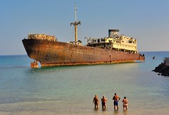 We Got Out Just In Time (tcees) Tags: shipwreck lanzarote lascaletas templehall telamon canaryislands canaries beach sea ship people allfreepictures bestof2016