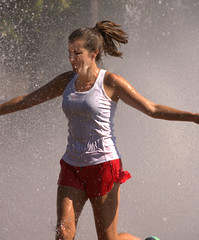 Cooling Off (swong95765) Tags: woman female lady running water fountain cooling wet
