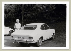 Opel Kadett LS Coup (Raymondx1) Tags: vintage classic black white blackwhite sw photo foto photography automobile car cars motor opel kadett coup opelkadett kadettb kadettls 1970s seventies girl woman lady dress platinum blonde