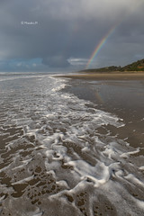 Today's Oregon coast (rainbow wasabi) Tags: beach sea foam ocean weather rainy season cloudy rainbow oregon coast pacific northwest usa america landscape seascape nature