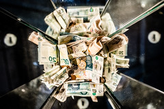 Please Give Generously (Sean Batten) Tags: london england unitedkingdom gb money sterling pounds collection tatemodern nikon df 35mm reflection city urban