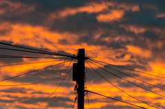 Hotline! (andythomas390) Tags: sunset red orange fire pole cable nikon d7000 18200mm