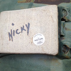 Painted Oxide Nicky and impressed Curlique's- Nicola Coady (chickpeaoz) Tags: australianpottery australianstudiopottery nsw handbuilt nicolacoady nickycoady paintedoxide paintednicky impressedcurlique paperlabel blackonwhitepaperlabel