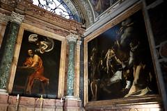 Caravaggio paintings in church of St Louis of France (Mikey Down Under) Tags: italy rome roma church stlouisoffrance inside caravaggio painting public display luigideifrancesi stmatthew angel stmatthewandtheangel matyrdomofstmatthew