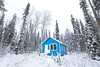 Blue Cabin (robertdownie) Tags: trees canada lake forest mountains winter cold clouds snow woods ice bc hills cabin wilderness britishcolumbia remote mountans bowron cariboo blue small tiny home house white