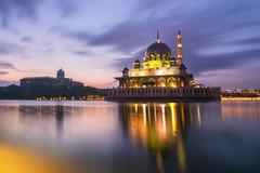 Putra Jaya Mosque (Laidm) Tags: mosque sunrise sunset clouds wallpaper beautiful scene landscape lights ray water lake