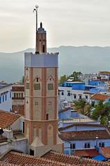 Minaret Masjid at main square of Uta el Hammam (T Ξ Ξ J Ξ) Tags: morocco chefchaouen sefasawan d750 nikkor teeje nikon2470mmf28 blue city kasbah