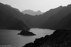 Solace of Solitude... (EHA73) Tags: aposummicronm1250asph leica leicamm typ246 monochrome bw blackandwhite hatta hattadam dubai uae nature landscape mountains lake rocks outdoor