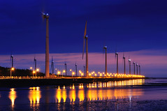Wind Turbines  (Vincent_Ting) Tags: sunset sea sky reflection beach water windmill si