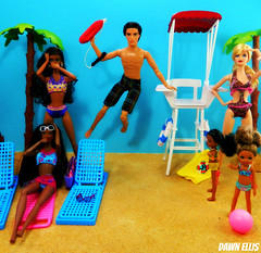 Summer Scheming Pt: 2: To the Rescue (Dawn Ellis) Tags: saveme barbie diorama blackdoll barbieandken blackbarbie blackdolls aabarbie beachbarbie dolldiorama barbiepivotal dionnecluelessdoll teennikkibarbie soinstylelittlesisters