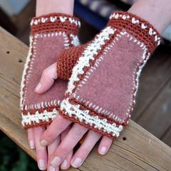 Possum fabrics and crochet mitts (Kiwi Little Things) Tags: