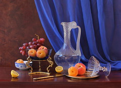 Peaceful Evening. (Esther Spektor) Tags: blue red stilllife food orange white color reflection art texture water glass yellow metal fruit bronze composition canon golden stand lemon stem pattern drink availablelight burgundy curtain cluster peach plate stilleben bowl fantasy apricot esther drape citrus brass pitcher arrangement grape porcelain tabletop bodegon cobalt naturemorte goblet naturamorta spektor naturezamorta coth creativephotography artdigital bej artofimages exoticimage galleryoffantasticshots estherspektor bestevercompetitiongroup creativephotocafe quotimaginationquot quoteveningquot quotdecanterquot quotslicequot quotartisticphotographyquot quotknifequot quotbrownquot