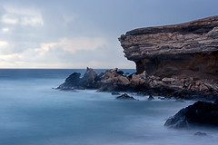 THE ROCK (CUMBUGO) Tags: ocean sea cliff sunlight water rock fog island spain nikon long exposure sundown fuerteventura fels nikkor f28 d800 d800e