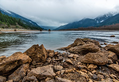 Lillooet Lake Side (`James Wheeler) Tags: park wood travel blue winter sea wild summer sky cloud mountain lake snow canada reflection tree green tourism nature water beautiful rock stone pine forest landscape bush scenery moody bc view cloudy outdoor britishcolumbia turquoise hill scenic rocky overcast nobody scene columbia canadian calm lakeside clear ridge national shore alberta british pemberton range lillooetlake