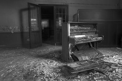 'Broken melody' (EXPLORED) (Timster1973 - thanks for the 16 million views!) Tags: blackandwhite bw house colour abandoned monochrome canon dark mono restaurant tim cafe europe mood moody decay neglected piano musical forgotten urbanexploration instrument musicalinstrument residence luxembourg forgot derelict lux destroyed abandonment decayed burned decaying arson dereliction ue musicinstrument urbex eurotour cafem mousel urbanwandering bwurbex residentialurbex timknifton timster1973 knifton cafemousel