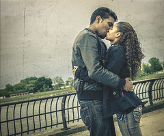 Jose and Erika's Kiss (Henry Vega Photography) Tags: nyc bridge newyork love beautiful composition canon vintage photography amazing model couple live eastriver conceptual