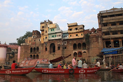 tourists on early morning boat tours (lethologically) Tags: people india heritage history tourism water sunrise buildings river temple boat asia buddha religion silk places blessing holy varanasi ritual hindu hinduism oldcity ganges sarnath riverbanks ghat holywater northindia historicalsites oldcities heritagesites incredibleindia