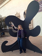 Susan with art (suze61) Tags: sculpture art sandiego susan