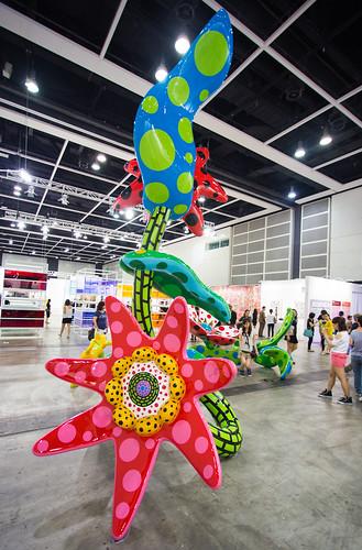 """Mixed Media Installation by Yayoi Kusama: Flowers that Bloom Tomorrow, 2012 (FRP, metal, paint)"" / Ota Fine Arts / Art Basel Hong Kong 2013 / SML.20130523.6D.13836"