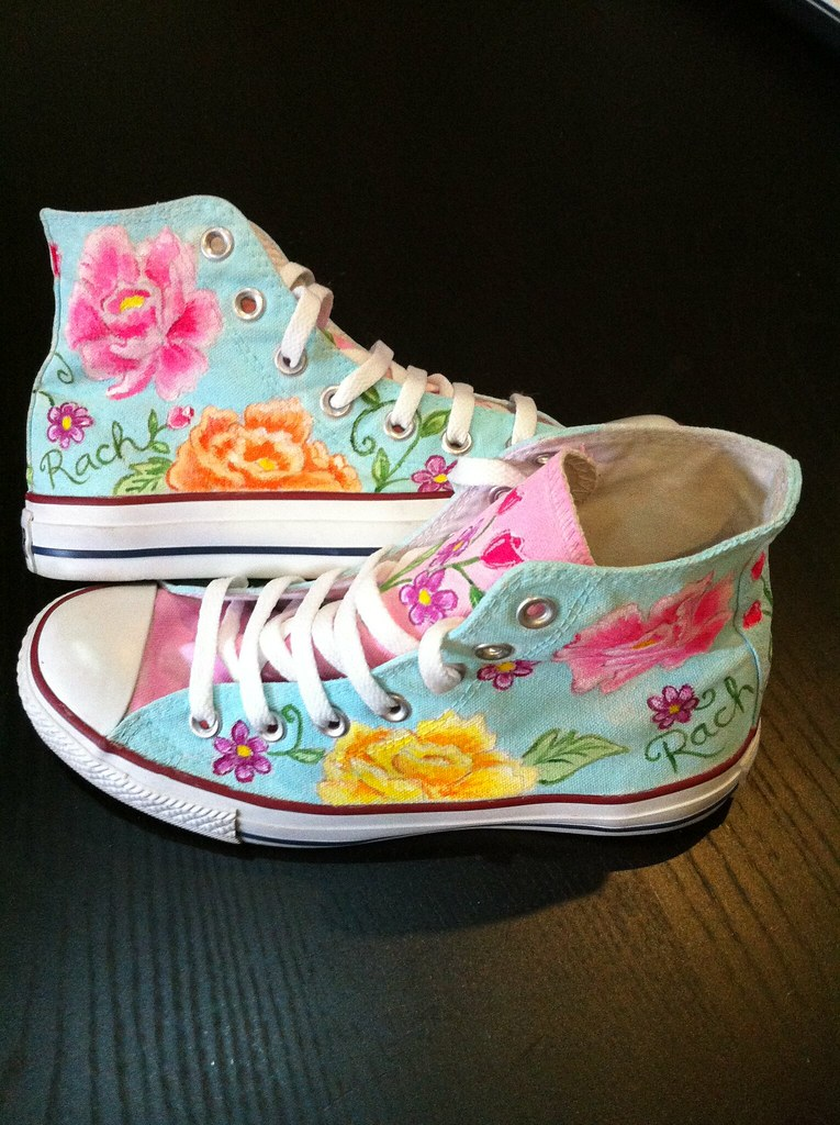 29f9c64b778b83 flower custom converse (Sherbie lemon) Tags  flowers lemon shoes hand  painted converse custom