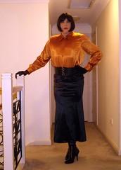 The Headmistress (16) (Furre Ausse) Tags: school orange black leather belt boots skirt blouse suit jacket gloves copper satin obedience mistress discipline headmistress governess