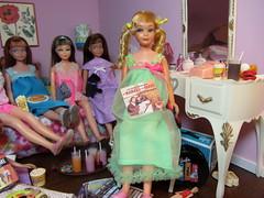(2) Sleep Over Party! (Foxy Belle) Tags: girls party food vintage bedroom doll barbie skipper teen popcorn pajamas diorama