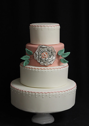 White and Pink Wedding Cake with Sugar Flower and Crimping