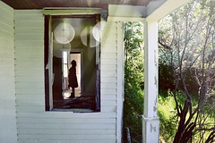 (emmakatka) Tags: summer white house abandoned window girl silhouette bokeh overlay porch northdakota derelict abandonment farmstead