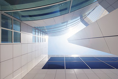 I g n i t e (Lee Sie) Tags: california blue windows sky sun white building architecture tile losangeles flare getty walls richardmeier whitewash asymetrical