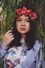 teen spirit (Tasha T. Faye) Tags: pink flowers light sunlight selfportrait green love nature girl leaves sweater nikon naturallight vangogh flowercrown d3100