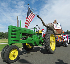 1942 John Deere Tractor (Sandy Leidholdt) Tags: usa tractor elephant america festive us colorado unitedstates flag political politics denver parade celebration tolerance machinery american lgbt vehicle 1942 republican gop republicans johndeere farmequipment usflag oldglory farmmachinery familyvalues pridefest cheesmanpark vehculo seriesb gaycommunity happypride sandraleidholdt greentractors denverpridefest leidholdt pridefest2013