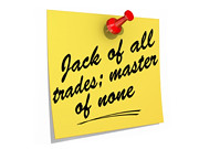 Jack of All Trades; Master of None White Background (One Way Stock) Tags: work jack none skills note master talent reminder trades generalist