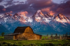 """A Mornings Rise""  Mormon Barn, Grand Tetons (Dan Ballard Photography) Tags: morning light sunset usa snow mountains beautiful barn sunrise photography gallery hole great picture grand pic images jackson best pro mormon wyoming tetons molten"