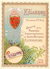 They could have done with a snappier title for this conference! (National Library of Ireland) Tags: ireland menus transport 19thcentury july trains kerry ephemera killarney conferences ferns shamrocks 12th thursday railways munster railroads 1890s 1894 programmes greatsouthern gswr athom nationallibraryofireland greatsouthernwesternrailway alexanderthom ephemeracollection passengersuperintendents goodsmanagers killarneysouthernhotel