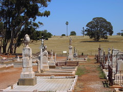 View to church hill at St Johns Catholic cemetery near Kapunda. The Catholic Church was on the hill and the nunnery which became the reform prison for delinquent girls. The reformatory was supposedly haunted. (denisbin) Tags: cemetery catholic stjohns reformatory kapunda koonunga