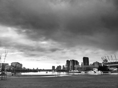 False Creek No 8 (jacobfrancis) Tags: city bridge weather architecture clouds boat gloomy horizon falsecreek hdr olympicvillage contrejour iphone
