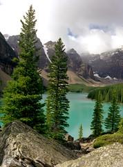 Morraine Lake (Natural World Gallery) Tags: film fujireala alpinelake mountainlake banffnationalpark canadianrockies lakemorraine mediumformat645 pentax645ii topnaturelocationsoftheworld