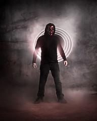 Stranger in a Strangeland (maven17) Tags: lightpainting halloween fog dark costume mask sony creepy cave portal walkingdead a550