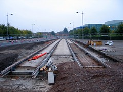 New tram tracks in the ng2 Business Park, Nottingham (ayeupmeduck) Tags: park nottingham two meadows tram line business transit express extension development ng2
