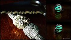 Glow/epoxy mix on a pewter bead (Stormdrane) Tags: diy mix mod decorative craft dry knot powder hobby glowinthedark howto epoxy bead edc pewter cure blend fob everydaycarry useful gid modify lanyard spyderco paracord 550cord stormdrane schmuckatellico